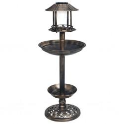 stradeXL Ozdobny basenik dla ptaków z lampkami solarnymi LED, plastikowy
