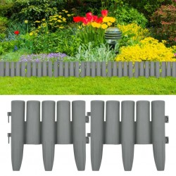 stradeXL Lawn Edgings 36 pcs Grey 10 m PP