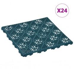 stradeXL Płytki ogrodowe, 24 szt., zielone, 29x29 cm, plastikowe