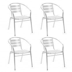 stradeXL Krzesła ogrodowe, sztaplowane, 4 szt., aluminium
