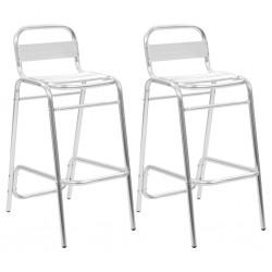 stradeXL Krzesła barowe układane w stos, 2 szt., aluminium