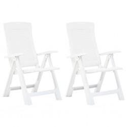 stradeXL Rozkładane krzesła do ogrodu, 2 szt., plastikowe, białe