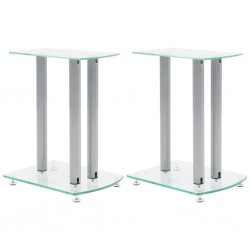 Aluminum Speaker Stands Transparent Safety Glass 2pcs