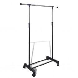 stradeXL Adjustable Clothes Rack 4 Castors 1 Hanging Rail