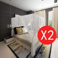 stradeXL Moskitiery nad łóżko, kwadratowe, 3 otwory, 2 sztuki