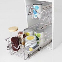 stradeXL Pull-Out Wire Baskets 2 pcs Silver 300 mm