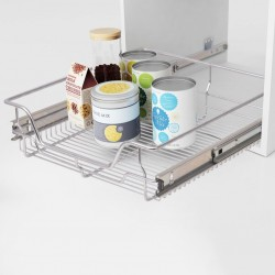 stradeXL Pull-Out Wire Baskets 2 pcs Silver 500 mm