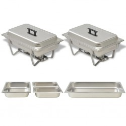 stradeXL 2 Piece Chafing Dish Set Stainless Steel