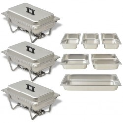 stradeXL 3 Piece Chafing Dish Set Stainless Steel