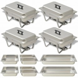 stradeXL 4 Piece Chafing Dish Set Stainless Steel