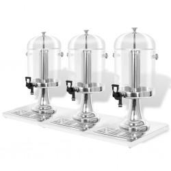 stradeXL Triple Juice Dispenser Stainless Steel 3 x 8 L