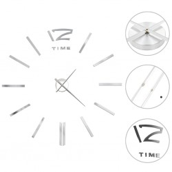 stradeXL 3D Wall Clock Modern Design 100 cm XXL Silver