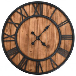 stradeXL Vintage Wall Clock with Quartz Movement Wood and Metal 60cm XXL