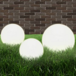 stradeXL Lampy zewnętrzne LED, 3 szt., kule 20/30/40 cm, PMMA