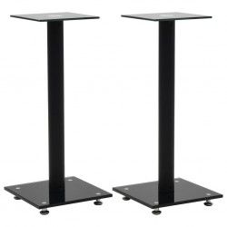 stradeXL Speaker Stands 2 pcs Tempered Glass 1 Pillar Design Black