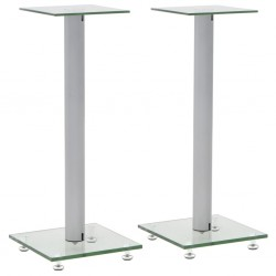 stradeXL Speaker Stands 2 pcs Tempered Glass 1 Pillar Design Silver