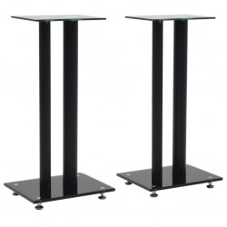 stradeXL Speaker Stands 2 pcs Tempered Glass 2 Pillars Design Black