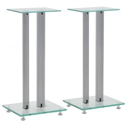 stradeXL Speaker Stands 2 pcs Tempered Glass 2 Pillars Design Silver