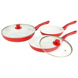 stradeXL 5-częściowy zestaw patelni, czerwony, aluminium