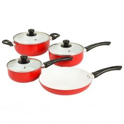stradeXL 7-częściowy zestaw naczyń kuchennych, czerwony, aluminium