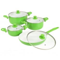 stradeXL 8-częściowy zestaw naczyń kuchennych, zielony, aluminium