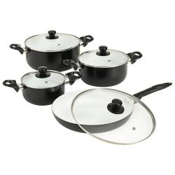 stradeXL 8-częściowy zestaw naczyń kuchennych, czarny, aluminium
