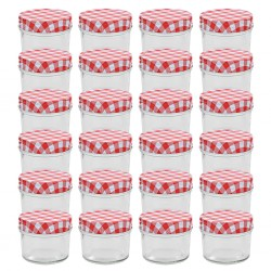 stradeXL Glass Jam Jars with White and Red Lids 24 pcs 110 ml