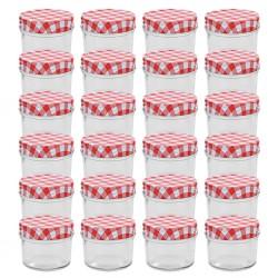 stradeXL Szklane słoiki na dżem, biało-czerwone pokrywki, 24 szt, 110 ml