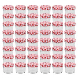 stradeXL Glass Jam Jars with White and Red Lids 48 pcs 110 ml