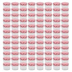 stradeXL Szklane słoiki na dżem, biało-czerwone pokrywki, 96 szt, 110 ml
