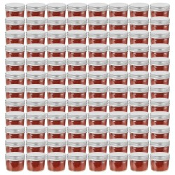 stradeXL Glass Jam Jars with Silver Lids 96 pcs 110 ml