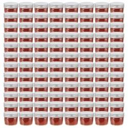 stradeXL Szklane słoiki na dżem, srebrne pokrywki, 96 szt., 110 ml