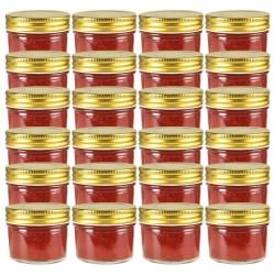 stradeXL Szklane słoiki na dżem, złote pokrywki, 24 szt., 110 ml