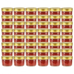 stradeXL Glass Jam Jars with Gold Lid 48 pcs 110 ml