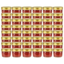 stradeXL Szklane słoiki na dżem, złote pokrywki, 48 szt., 110 ml