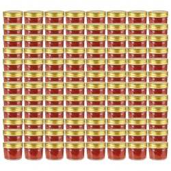 stradeXL Glass Jam Jars with Gold Lid 96 pcs 110 ml