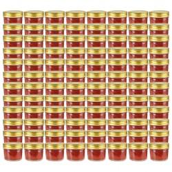 stradeXL Szklane słoiki na dżem, złote pokrywki, 96 szt., 110 ml