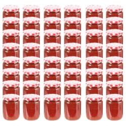 stradeXL Szklane słoiki na dżem, biało-czerwone pokrywki, 48 szt, 230 ml