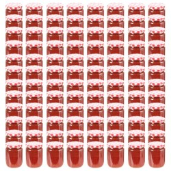 stradeXL Glass Jam Jars with White and Red Lid 96 pcs 230 ml