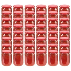 stradeXL Glass Jam Jars with Red Lid 48 pcs 230 ml