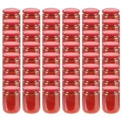 stradeXL Szklane słoiki na dżem, czerwone pokrywki, 48 szt., 230 ml