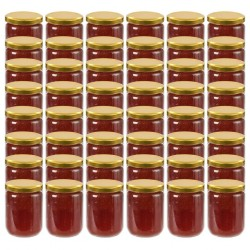 stradeXL Glass Jam Jars with Gold Lid 48 pcs 230 ml