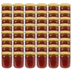 stradeXL Szklane słoiki na dżem, złote pokrywki, 48 szt., 230 ml