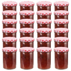stradeXL Glass Jam Jars with White and Red Lid 24 pcs 400 ml