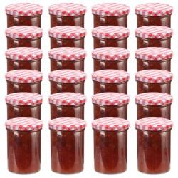 stradeXL Szklane słoiki na dżem, biało-czerwone pokrywki, 24 szt, 400 ml