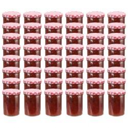 stradeXL Szklane słoiki na dżem, biało-czerwone pokrywki, 48 szt, 400 ml
