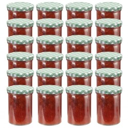 stradeXL Glass Jam Jars with White and Green Lid 24 pcs 400 ml