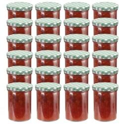 stradeXL Szklane słoiki na dżem, biało-zielone pokrywki, 24 szt., 400 ml