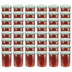 stradeXL Glass Jam Jars with White and Green Lid 48 pcs 400 ml