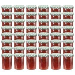stradeXL Szklane słoiki na dżem, biało-zielone pokrywki, 48 szt., 400 ml